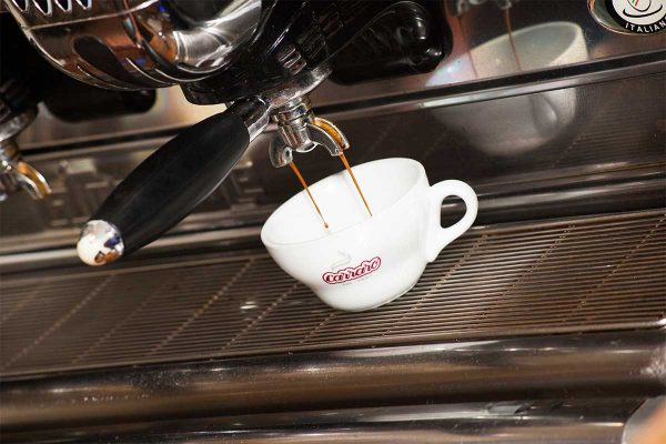 coffee machine with coffee being made