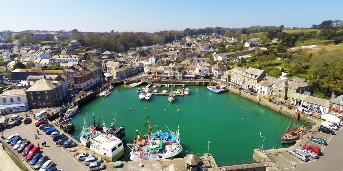 ariel shot of padstow harbour